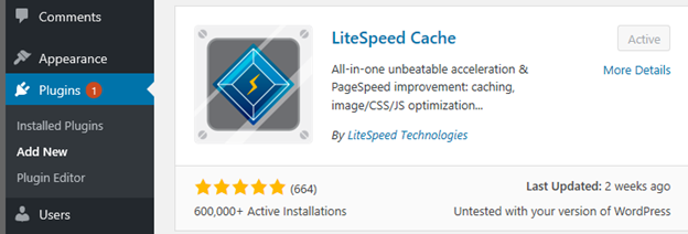 LIteSpeed Server - WordPress