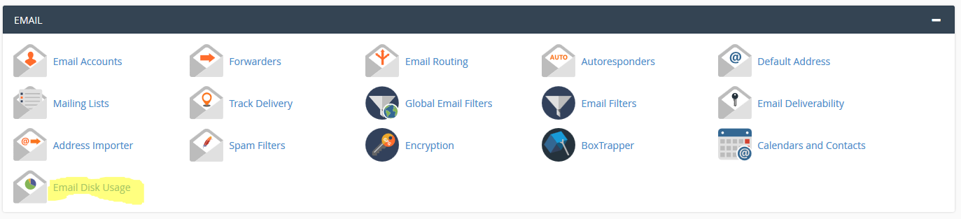 cPanel Email usage