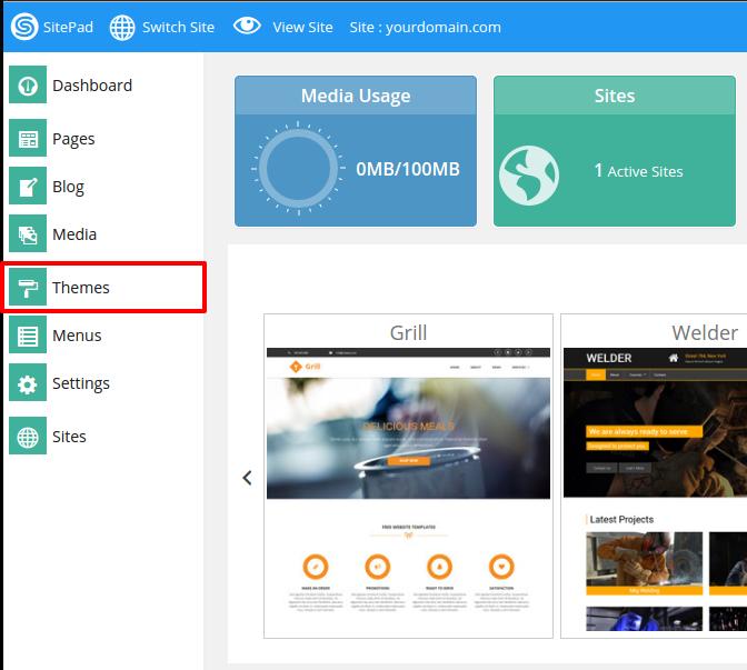 Sitepad main menu
