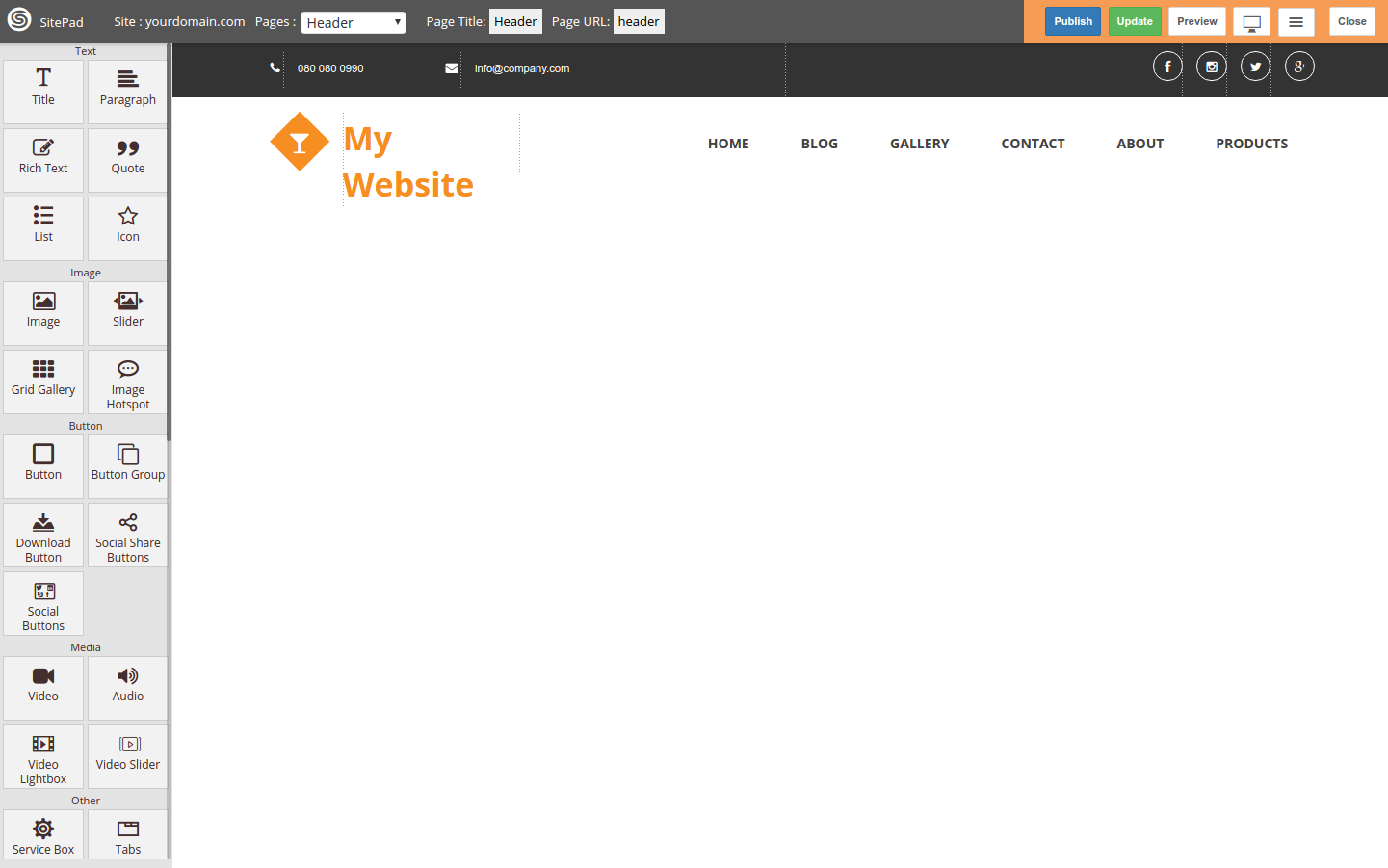 Sitepad page editor