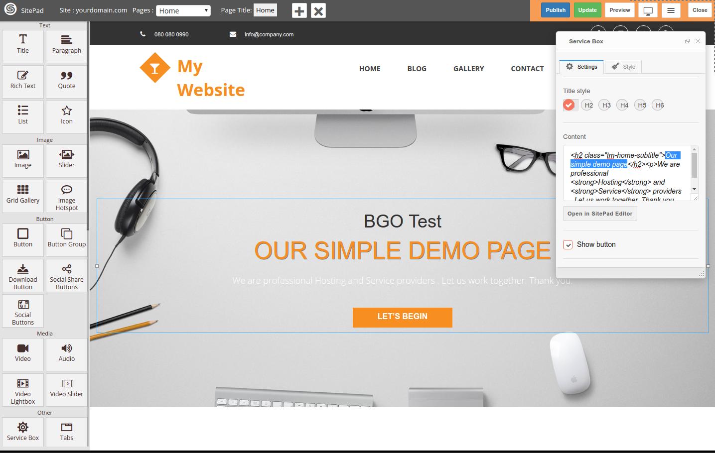 SitePad page editor settings